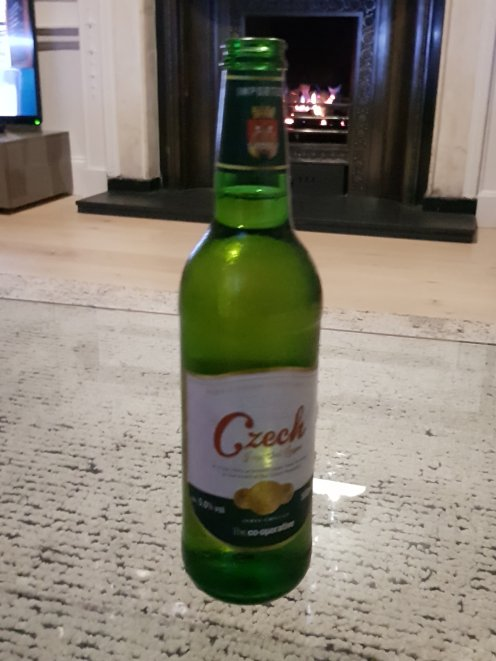 Czech pilsner, had this in a recent trip to Edinburgh - it is actually sitting on a glass table which you don't initially realise on first inspection of the photo!
